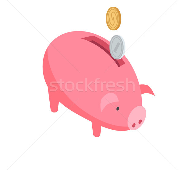 Silver and Gold Coins Falling into Pink Piggy Bank Stock photo © robuart
