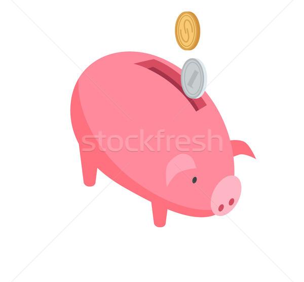 Stock fotó: Ezüst · arany · érmék · zuhan · rózsaszín · persely · grafikus