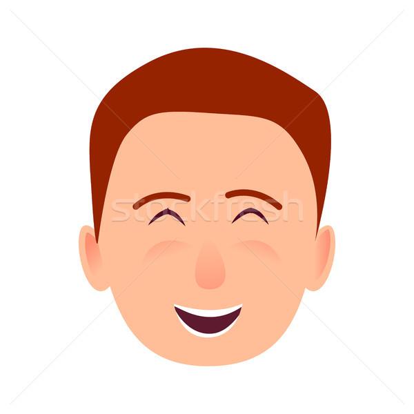 молодым человеком улыбающееся лицо вектора икона смеясь лице Сток-фото © robuart
