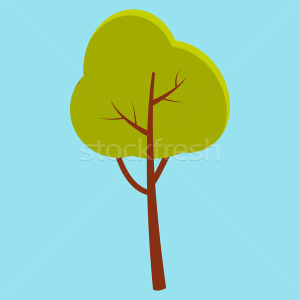 Green Summer Tree with Brown Stem Isolated on Blue Stock photo © robuart