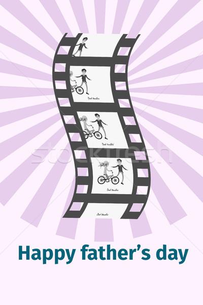 счастливым отец день Моменты черный Film Reel Сток-фото © robuart