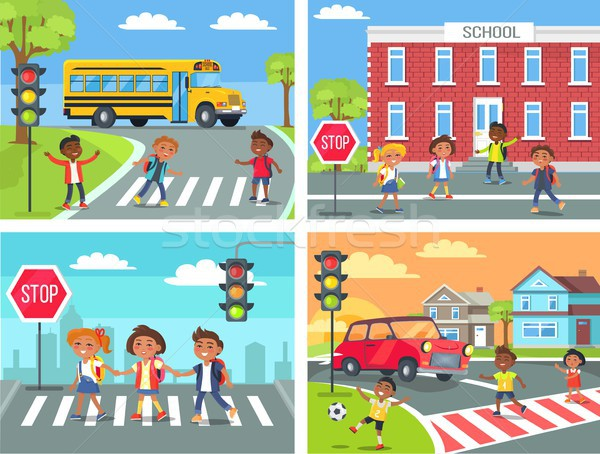 Schoolchildren Cross Road on Pedestrian Crossing Stock photo © robuart