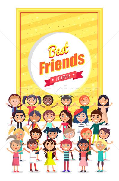 En İyi arkadaşlar sonsuza dek poster grup çocuklar parlak Stok fotoğraf © robuart