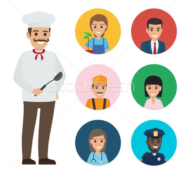итальянский повар набор люди различный Сток-фото © robuart
