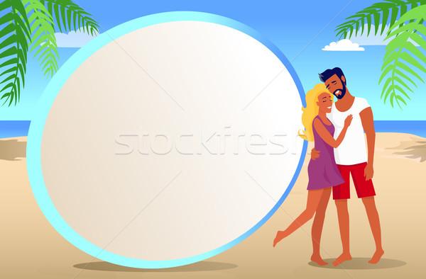 Frame foto paar tropisch strand exotisch palmen Stockfoto © robuart