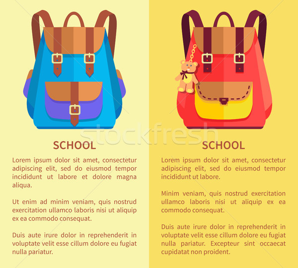School Rucksacks for Boys and Girls Blue and Pink Stock photo © robuart