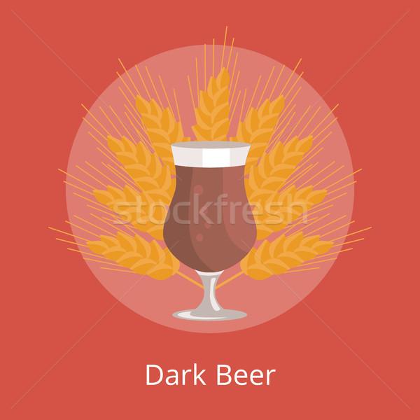 Dark Beer in Tulip Glass in Transparent Cup Vector Stock photo © robuart