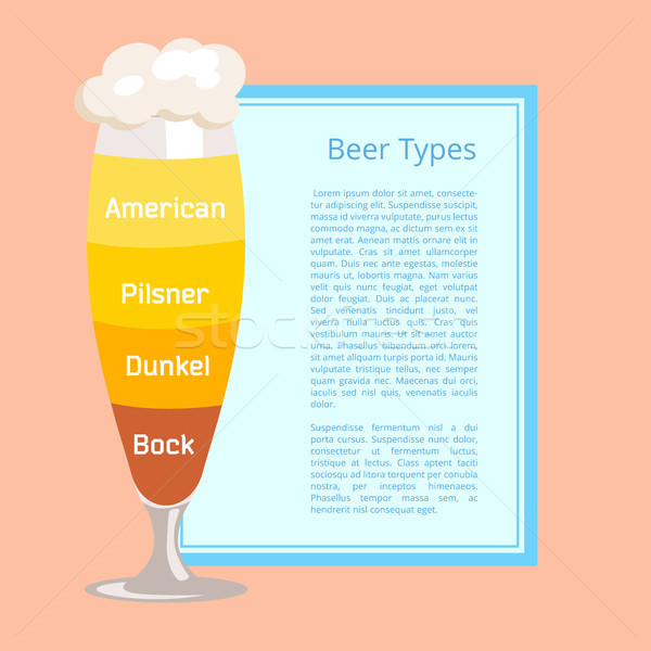 Beer Types Poster Depicting Footed Pilsner Glass Stock photo © robuart