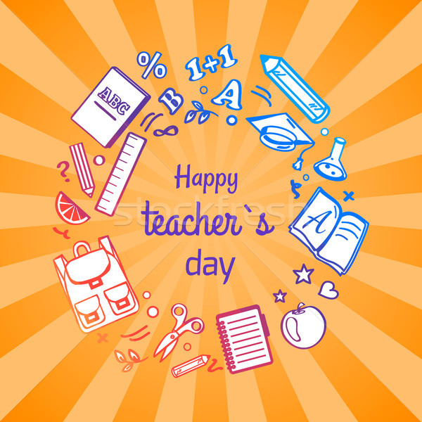 Happy Teacher s Day Poster with School Objects Stock photo © robuart