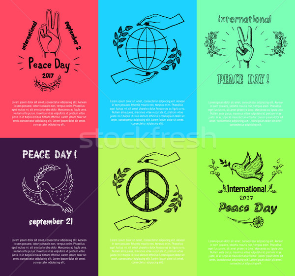 Set of Posters for International Peace Day Stock photo © robuart