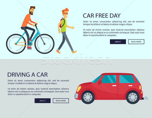 Car Free Day and Driving Car Vector Illustration Stock photo © robuart