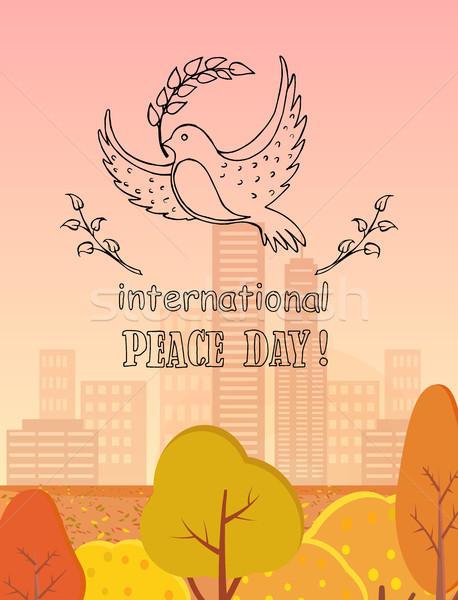Stock foto: Internationalen · Frieden · Tag · logo · Taube · halten