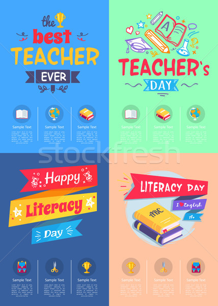 Series of Posters Teachers Day Vector Illustration Stock photo © robuart