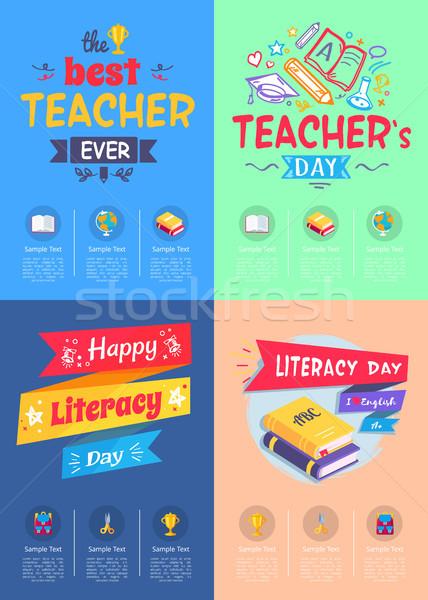Affiches enseignants jour dévoué alphabétisation différent Photo stock © robuart