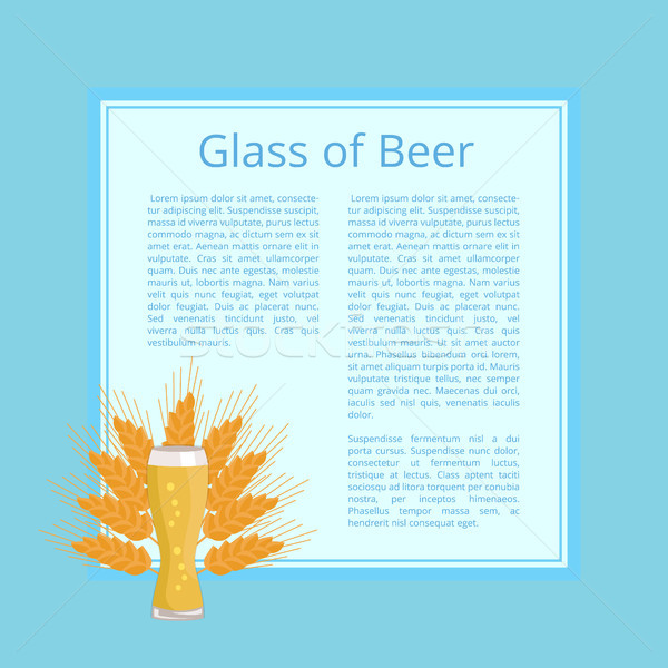 Glass of Beer Background Wheat Poster with Text Stock photo © robuart