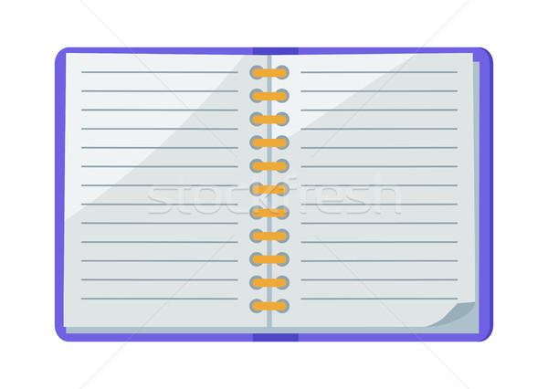 öffnen Spirale Schönschreibheft Symbol line isoliert Stock foto © robuart