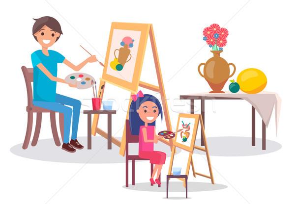 искусства семьи рисунок натюрморт фотография ваза Сток-фото © robuart
