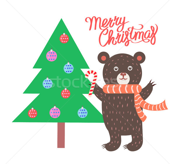 Stock photo: Merry Christmas Bear and Tree Vector Illustration