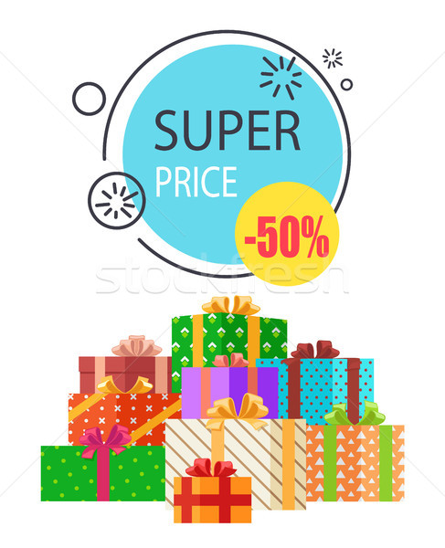 Super Sale Promo Round Label 50 Price Off Boxes Stock photo © robuart