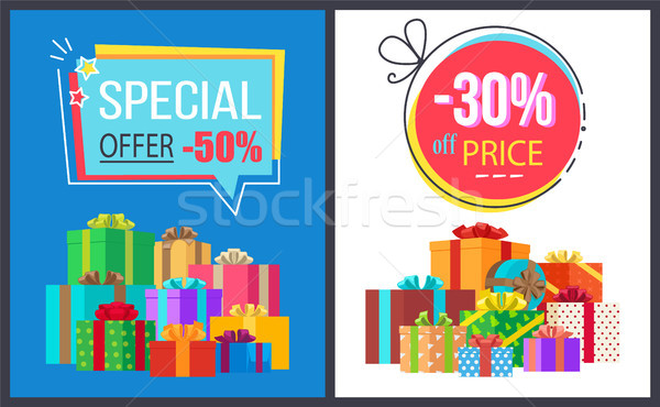 Special Offer 50 Price Off 30 Gemetric Label Boxes Stock photo © robuart