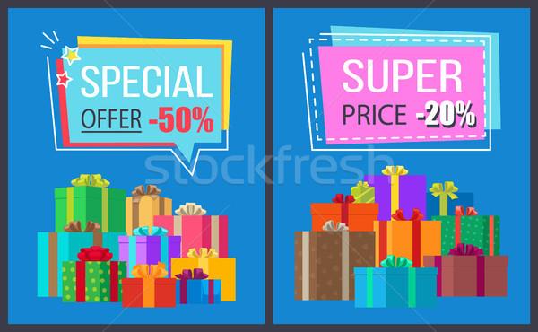 Akció szuper ár promo címkék ajándékdobozok Stock fotó © robuart