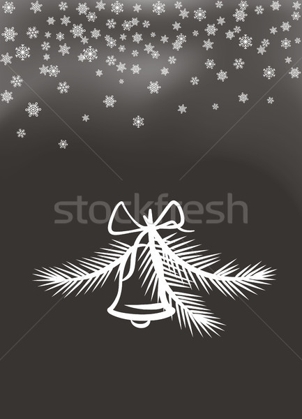 Jingle Bell with Bow and Feathers White Silhouette Stock photo © robuart