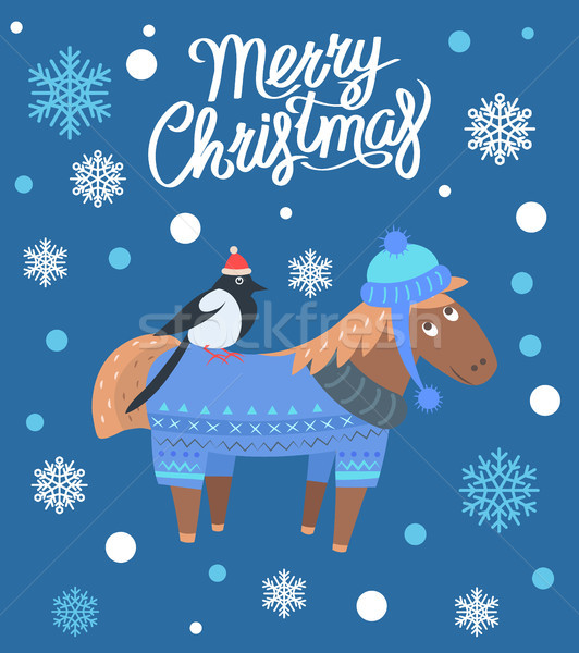 Stock photo: Merry Christmas Horse and Bird Vector Illustration