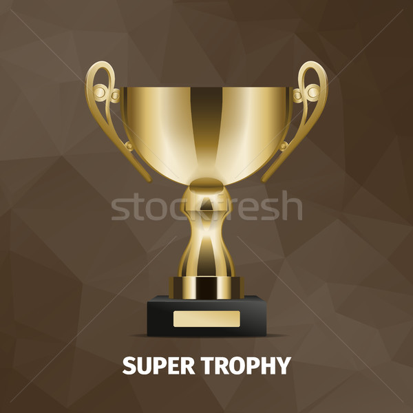 Shining Super Golden Trophy on Brown Background Stock photo © robuart