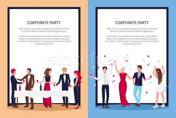 Corporate Party Posters Set Text Sample and People Stock photo © robuart