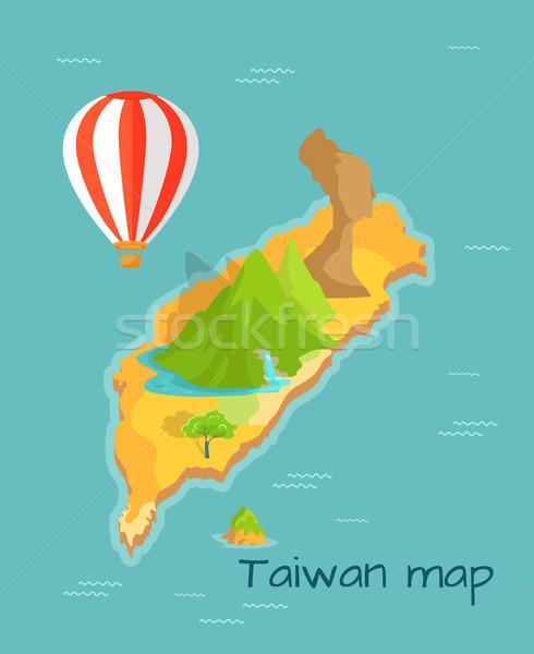 Tayvan harita ejderha dağ çağlayan ada Stok fotoğraf © robuart