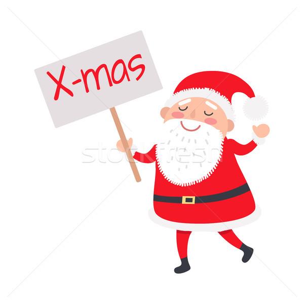 Santa Claus with X-mas Poster on White Background Stock photo © robuart
