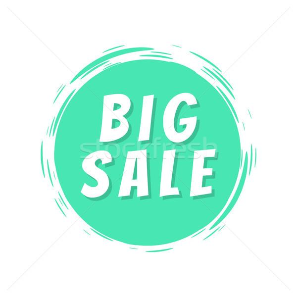 Duży sprzedaży tekst niebieski malowany miejscu Zdjęcia stock © robuart