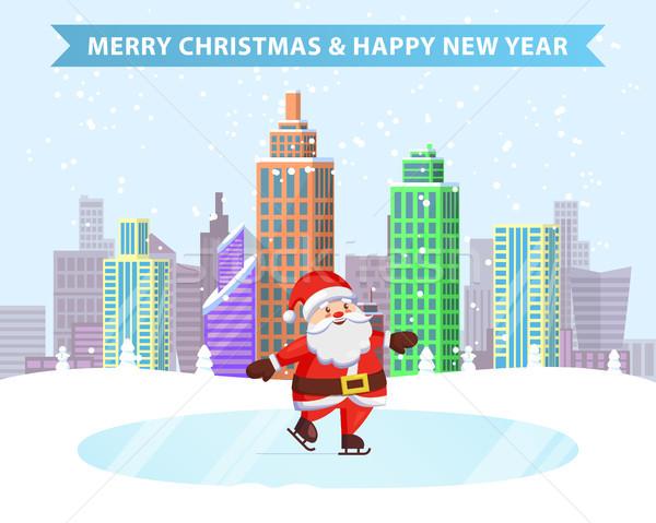 Merry Christmas Happy New Year Ice-Skating Santa Stock photo © robuart