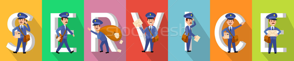 SERVICE Poster in Colours with Working Carriers Stock photo © robuart