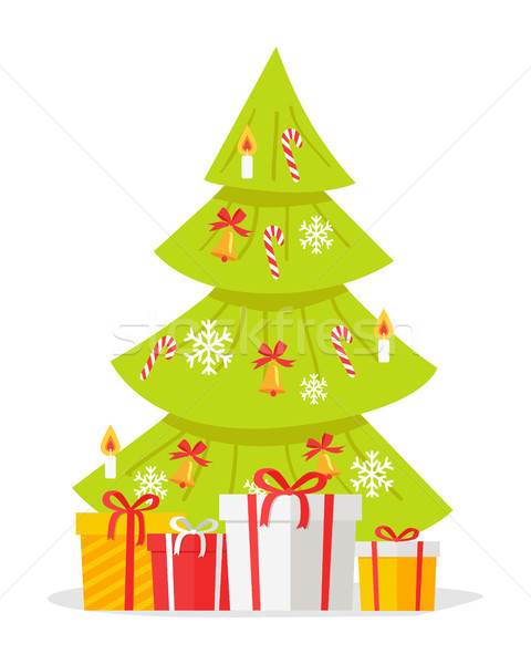Christmas Tree with Gift Boxes Isolated on White Stock photo © robuart