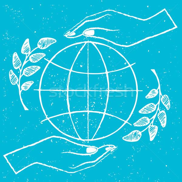 International Peace Day Vector Illustration on Blue Stock photo © robuart