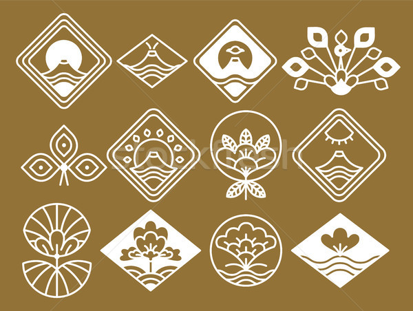 Japanese Icons with Natural and Floristic Motifs Stock photo © robuart