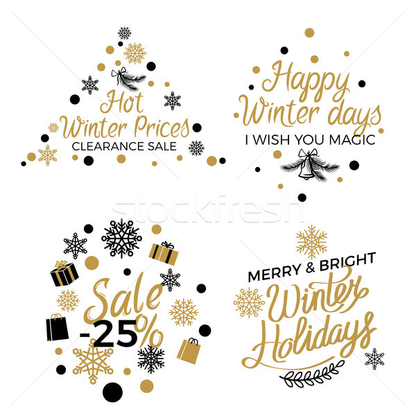Hot Winter Holiday Price Sales Emblems on White Stock photo © robuart
