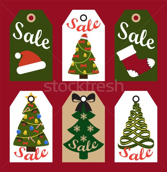 Сток-фото: продажи · Новый · год · набор · карт · деревья · украшенный