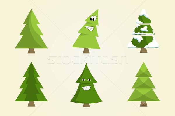 Karácsonyfa felirat tábla gyűjtemény lucfenyő ikonok Stock fotó © robuart