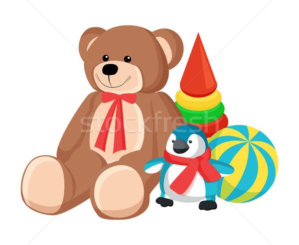 Teddy Bear and Penguin Toys Vector Illustration Stock photo © robuart