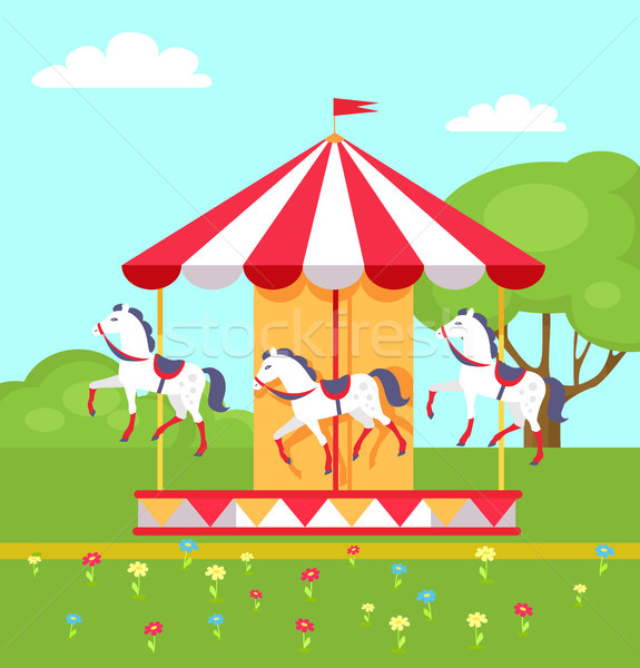 Rotating Horses Carousel in City Park, Vector Stock photo © robuart