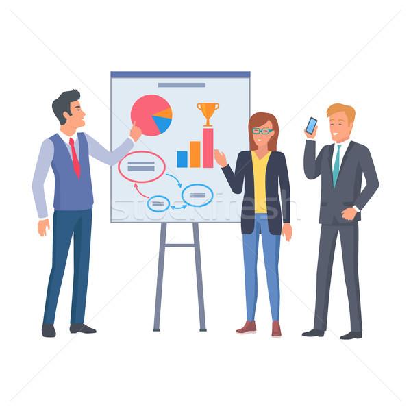 女性 眼鏡 二人の男性 ビジネス コーチング 人 ストックフォト © robuart