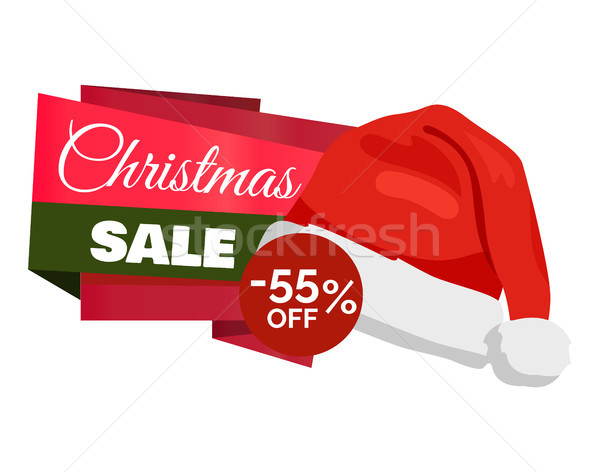 Christmas Sale 55 Off Promo Label Santa Claus Hat Stock photo © robuart