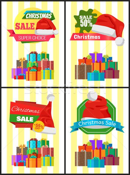 Christmas Sale Posters Santas Hat Discount Label Stock photo © robuart