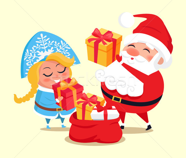 Snow Maiden, Santa with Gifts Vector Illustration Stock photo © robuart