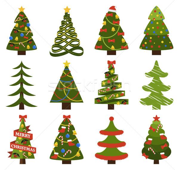 Stockfoto: Groot · ingesteld · kerstboom · symbolen · abstract