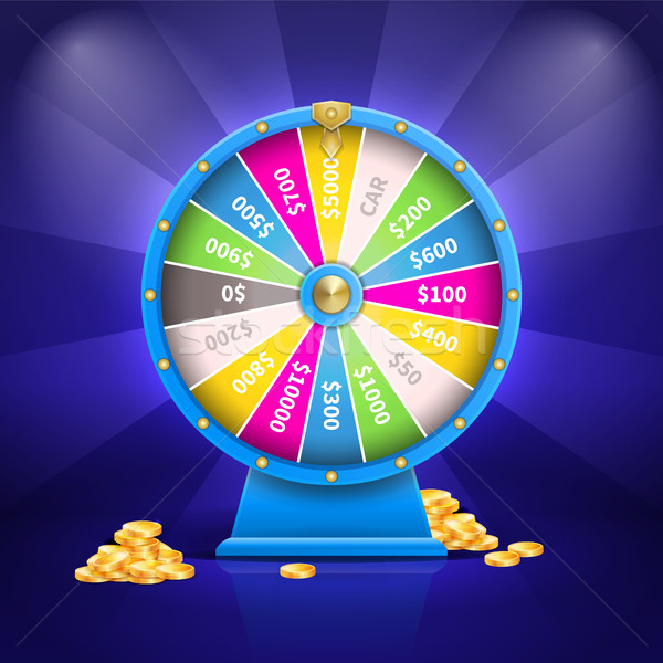 Fortune Wheel and Money Poster Vector Illustration Stock photo © robuart