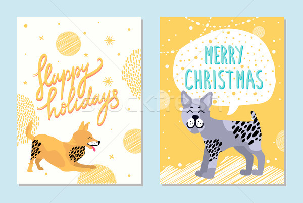 Merry Christmas and Happy Holidays Bright Postcards Stock photo © robuart