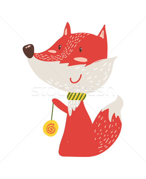 Happy Red Fox with Yo-yo Icon Vector Illustration Stock photo © robuart